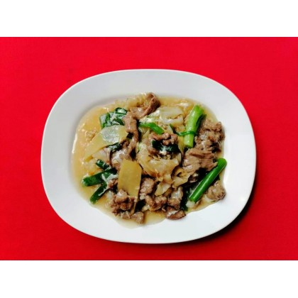 KueyTeow Beef with Ginger & Spring Onion